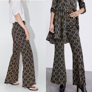 Zara flared chain print pants